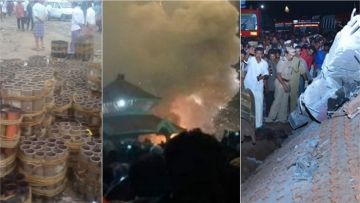 A firework explosion in the Puttingal Devi Temple of Kollam in Kerala left 110 people dead and around 380 injured. (Photo Courtesy: <i>The News Minute</i>)