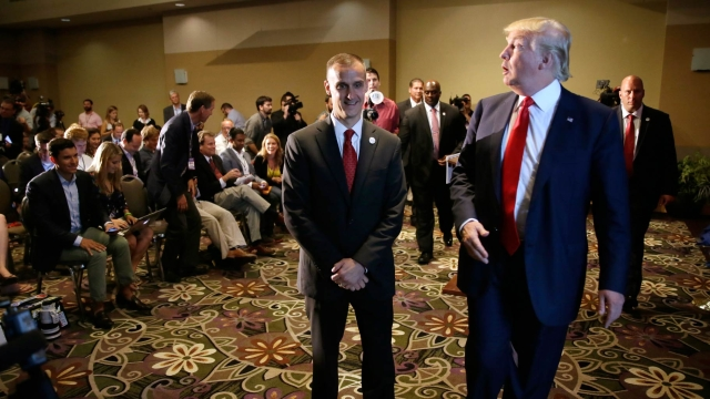 Republican presidential candidate Donald Trump with his campaign manager Corey Lewandowski (left) in Dubuque, Iowa on 25 August 2015. (Photo: AP)