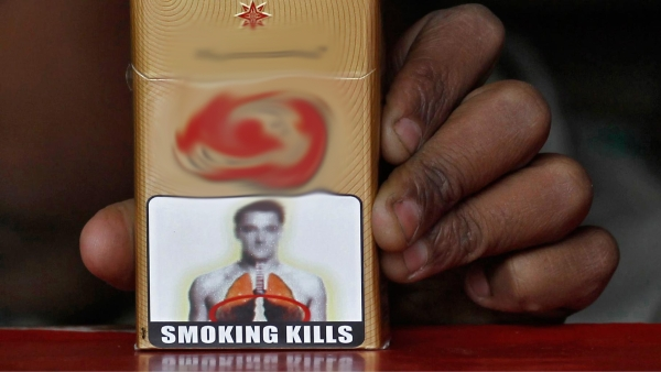 A health warning on an Indian-made cigarette pack. (Photo: Reuters)