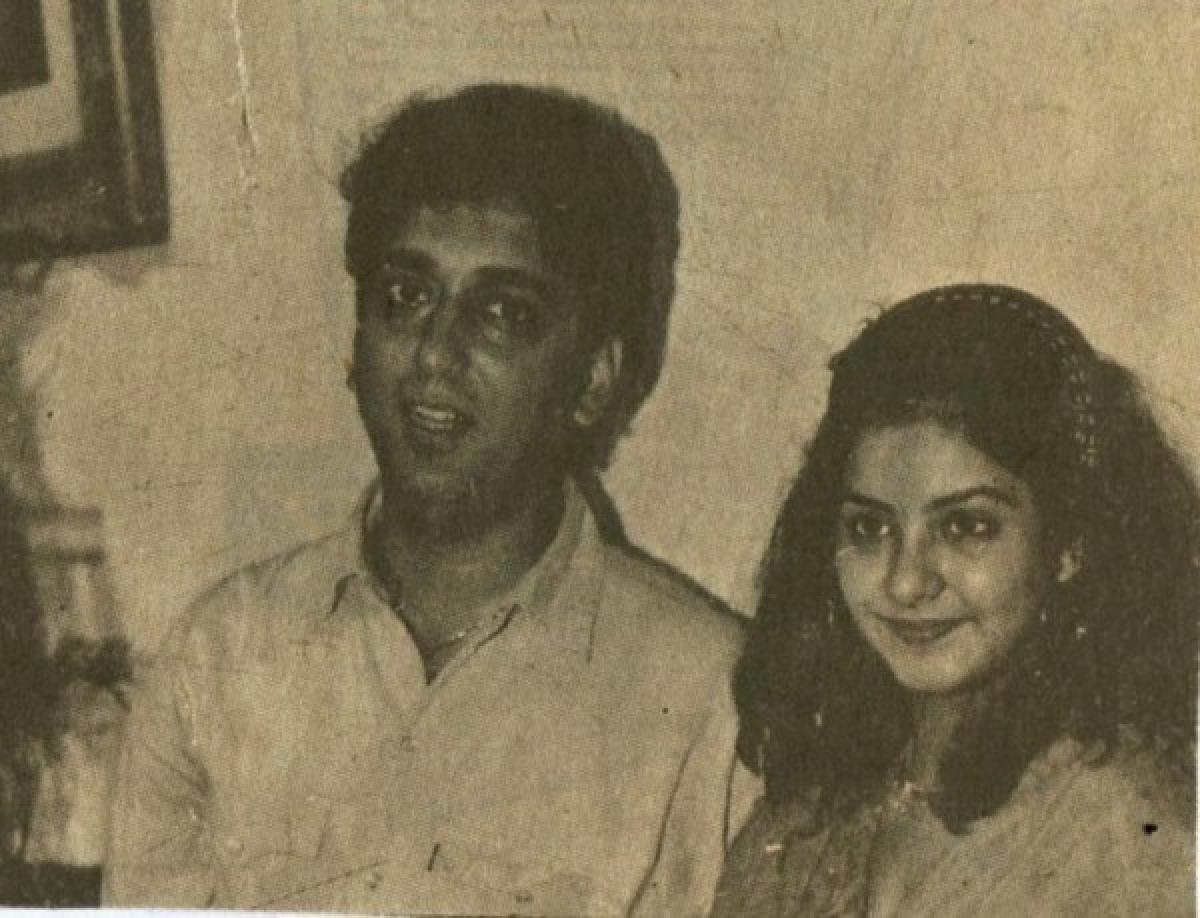 Filmmaker Sajid Nadiadwala With Divya Bharti Photo Courtesy Divyabhartiportal