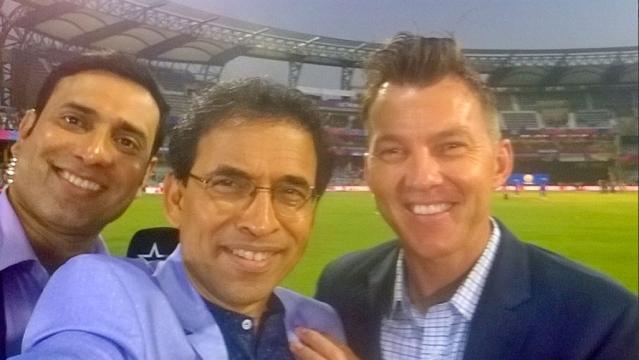 Harsha Bhogle (Center) with fellow commentators VVS Laxman and Brett Lee during World T20. (Photo: Twitter/BhogleHarsha)