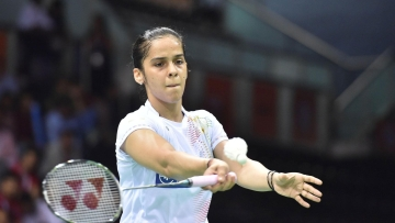 File photo of Saina Nehwal who has reached the semi-finals of the Indonesia Open.