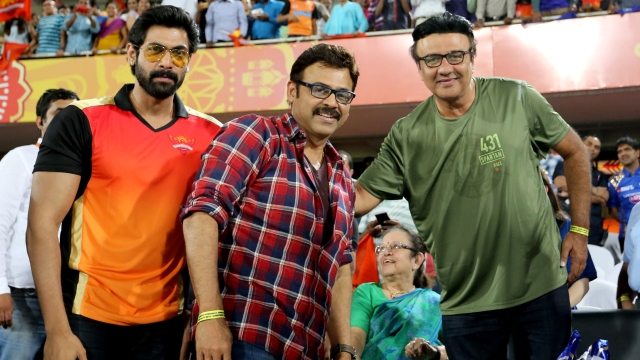 Star from the Telugu film industry, Venkatesh and bollywood actor Rana Dagupati also joined Mallik on the stands. (Photo: BCCI)