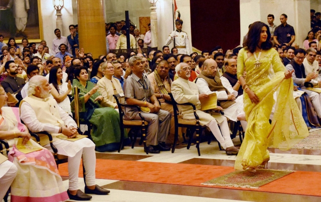 Bollywood actress Priyanka Chopra walks up to receive the Padma Shri  at the Padma Awards 2016 function, Rashtrapati Bhavan in New Delhi.  (Photo: PTI)