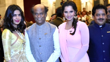 Priyanka Chopra, Rajinikanth, Sania Mirza and Udit Narayan during the Padma Awards 2016 function at the Rashtrapati Bhavan, New Delhi. (Photo: PTI)