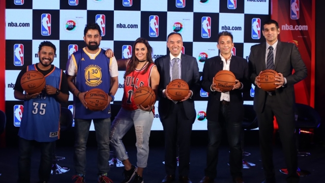 (From left to right) Abish Matthew, Rannvijay Singh, Neha Dhupia, NBA Deputy Commissioner, Mark Tatum, CEO The 120 Media Collective and MD NBA India, Yannick Colaco at the NBA Digital Destination Launch. (Photo: NBA)
