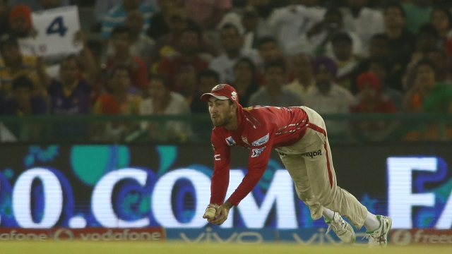 Glenn Maxwell of Kings XI Punjab took a brilliant catch to get Kolkata Knight Riders captain Gautam Gambhir (Photo: BCCI)