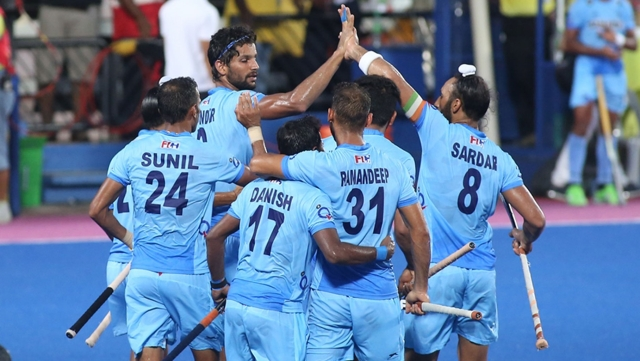Rupinder Pal Singh celebrates with his teammates after scoring a goal. (Photo: Hockey India)