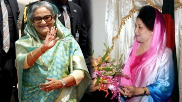 Bangladesh Prime Minister Sheikh Hasina (left) and Opposition leader Khaleda Zia. (Photo: <b>The Quint</b>)