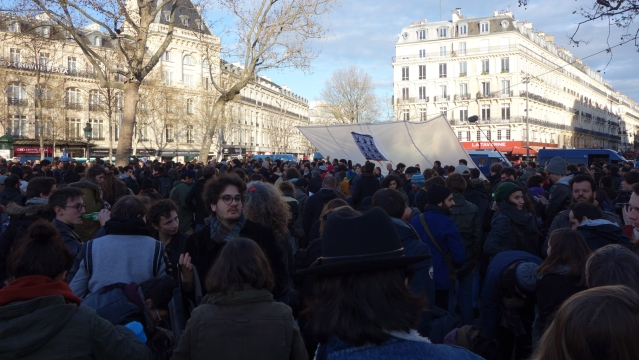 People gather on the Place de la Republique. (Photo Courtesy: Archis Chowdhury)