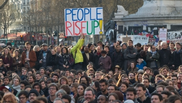 People gather on the Place de la Republique in Paris, France, 8 April 2016. (Photo: AP)