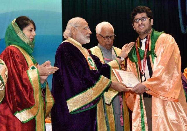 Katra: Prime Minister Narendra Modi during the 5th Convocation of Shri Mata Vaishno Devi University at Katra in Jammu and Kashmir. (Photo: AP)