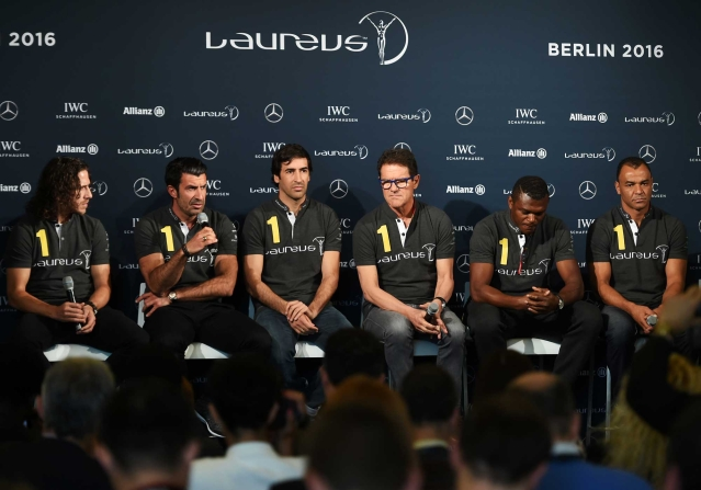 (L-R) Laureus World Sports Academy members Carles Puyol,Luis Figo,Raul with Laureus Ambassador Fabio Capello and Laureus World Sports Academy members Marcel Desailly and Cafu during the Football press conference prior to the 2016 Laureus World Sports Awards (Photo by Tom Dulat/Getty Images for Laureus)