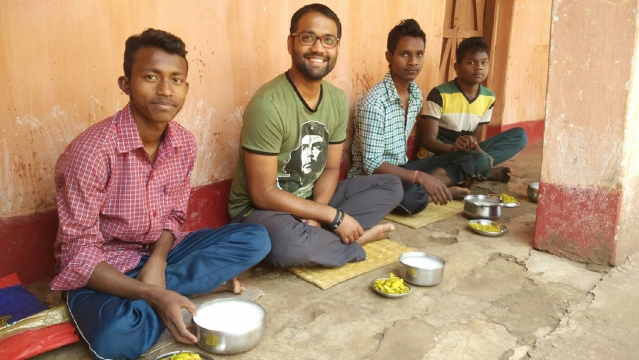 At Adivasi Ekta Samiti, Serenda ­Barbil, I would share hearty meals of 'paani bhat' with some of the 800 plus tribal students who reside and study here. (Photo Courtesy: Ankush Vengurlekar)