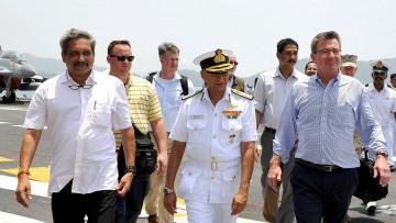 Defence Minister Manohar Parrikar and US Defense Secretary Ashton Carter during a visit to Naval Base Karwar, Karnataka on Monday. (Photo: PTI)