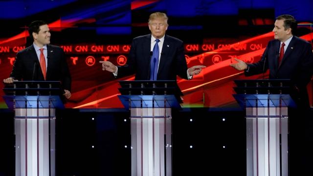 Marco Rubio, Donald Trump and Ted Cruz. (Photo: AP)