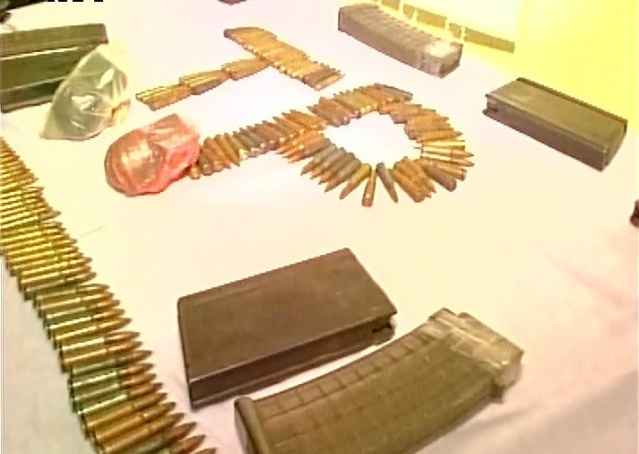 Weapons were discovered from NLFT members after they surrendered to Agartala police. (Photo: ANI)