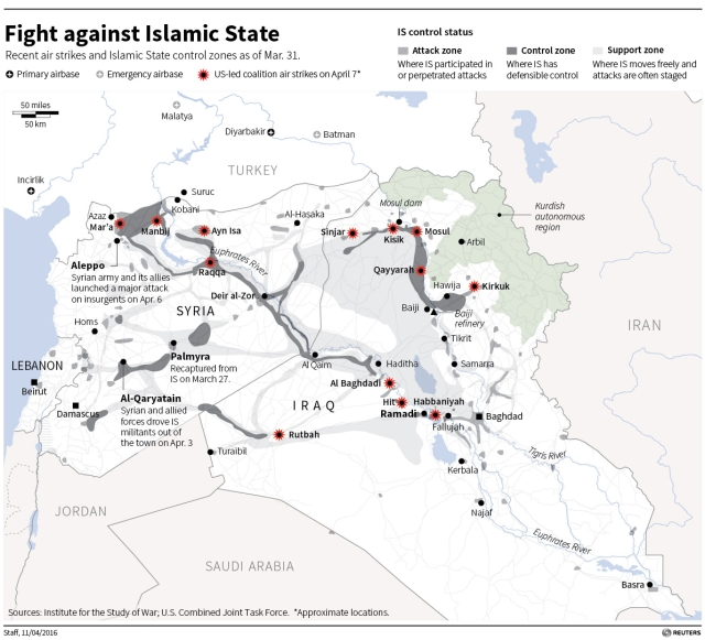 "Graphic showing Islamic State's territorial control. (Photo: <a href=""http://fingfx.thomsonreuters.com/gfx/rngs/m2/503/503/MIDEAST-CRISIS%20TURKEY%20T.jpg"">Reuters</a>)"
