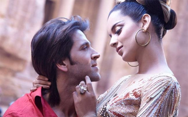 Kangana Ranuat and Hrithik Roshan in a scene from <i>Krrish 3</i>