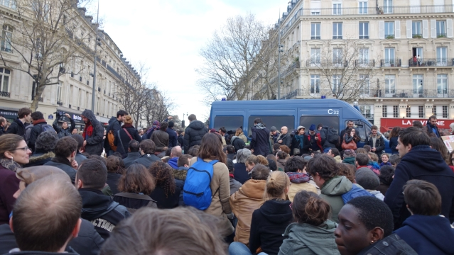 "The social media-driven movement, called ""Nuit Debout"" or ""Rise up at Night,"" sprang from nationwide strikes and protests last week. (Photo courtesy: Archis Chowdhury/ <b>The Quint</b>)"