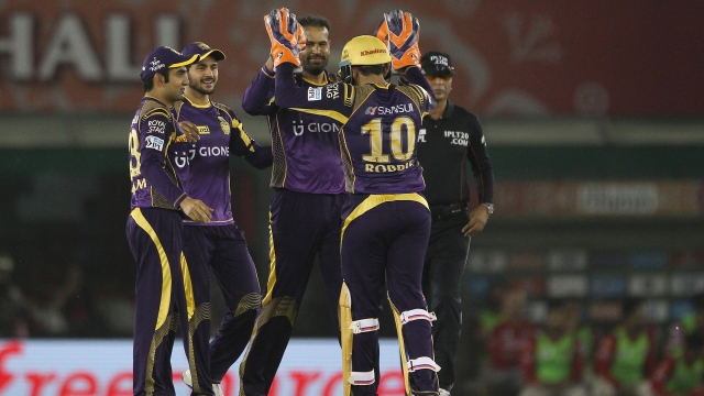 Yusuf Pathan of Kolkata Knight Riders celebrates the wicket of Kings XI Punjab captain David Miller (Photo: BCCI)