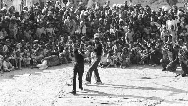 Safdar Hashmi performing with other JANAM members.