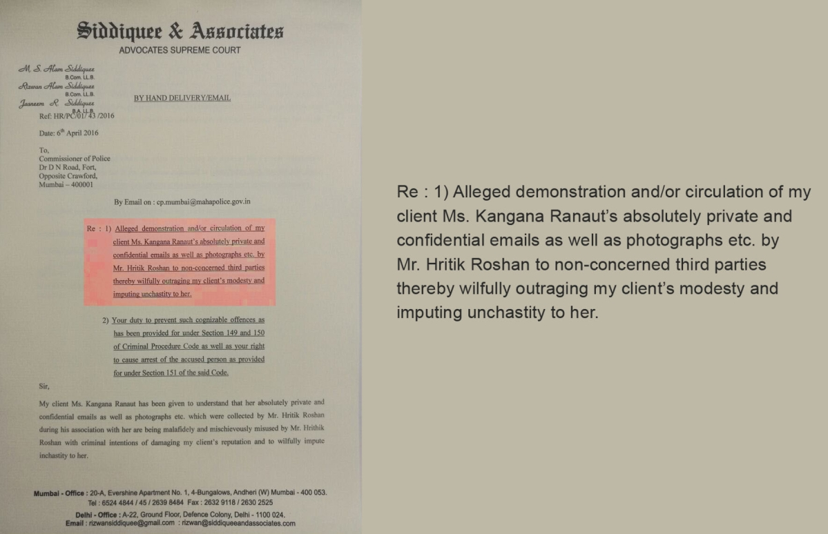 Heres proof that kangana ranaut wants hrithik roshan arrested the letter sent to the mumbai police by kanganas lawyer spiritdancerdesigns Gallery