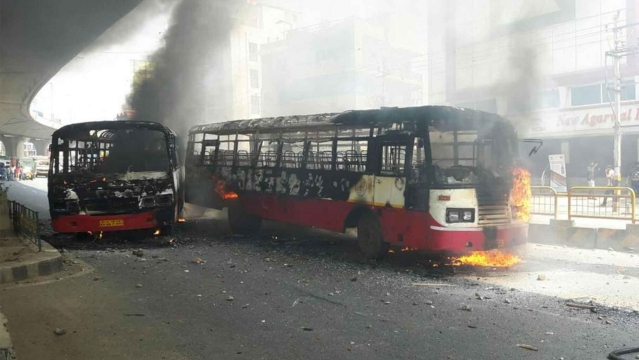 "Incidents of stone-pelting on buses and vehicles being burnt were reported from different parts of the city (Photo: Bengaluru City Police <a href=""https://twitter.com/BlrCityPolice"">Twitter</a>)"