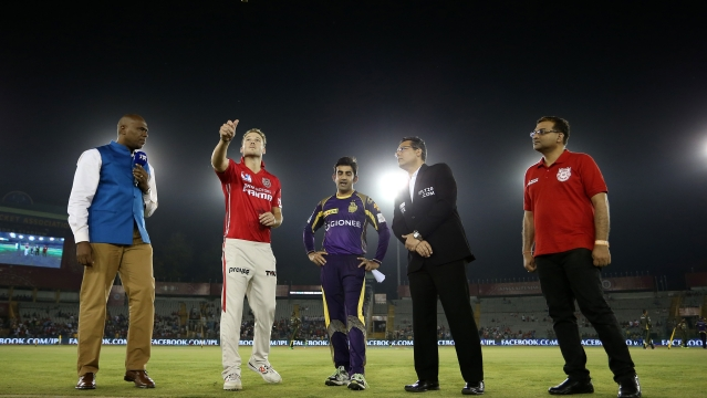 Captain of KXIP David Miller spins the coin during Toss (Photo: BCCI)