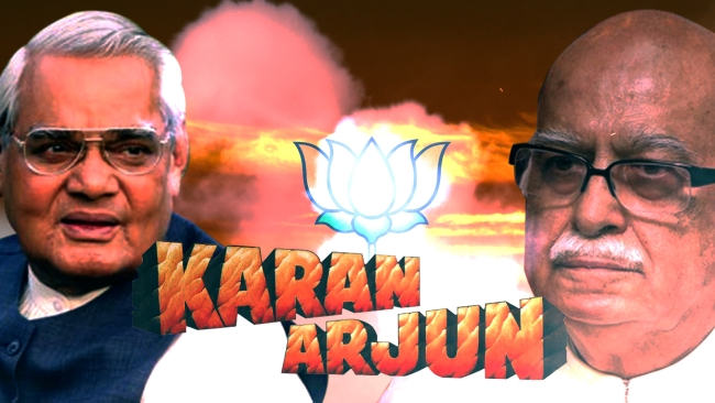 The moderate Vajpayee and hardline Advani have formed the core of the BJP for most of its history. (Photo: image altered by&nbsp;<b>The Quint</b>)