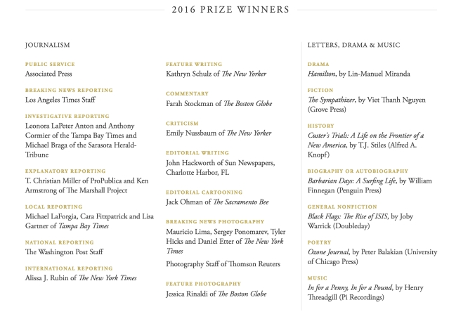 "The list of Pulitzer Winners 2016. (Photo Courtesy: Pulitzer <a href=""http://www.pulitzer.org/"">Website</a> screengrab)"