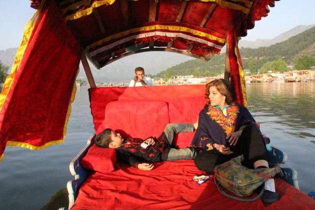 Kazuo in a shikara with mom. (Photo Courtesy: Sahar Zaman)