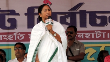 West Bengal Chief Minister and Trinamool Congress chief Mamata Banerjee during a party programme in Cooch Behar on 3 May  2016.