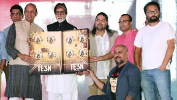 Team <i>TE3N</i> posing with the film's album. (Photo: Yogen Shah)