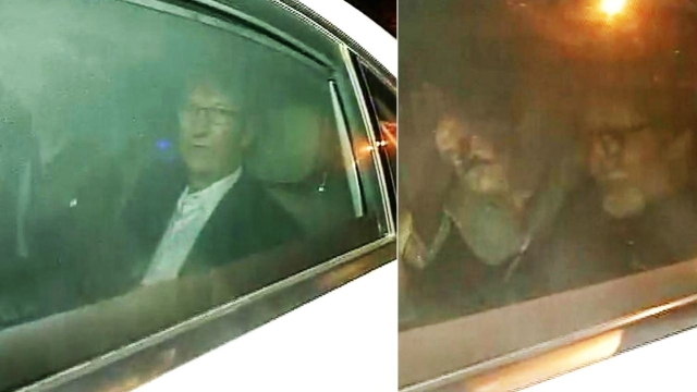"Tim Cook and Amitabh Bachchan arrive at Mannat for Shah Rukh Khan's party. (Courtesy:<a href=""https://twitter.com/ANI_news?ref_src=twsrc%5Egoogle%7Ctwcamp%5Eserp%7Ctwgr%5Eauthor""> Twitter/@ANI_news</a>)"