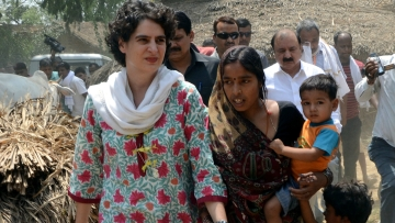 Raebareli: Congress chief Sonia Gandhi's daughter Priyanka Gandhi visits Raebareli of Uttar Pradesh, on May 27, 2015. (Photo: IANS)