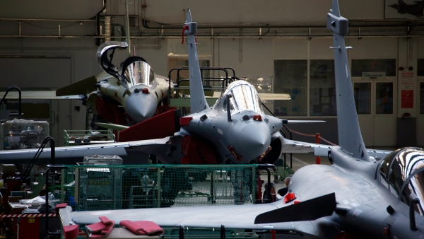 View of the assembly line of the Rafale jet fighter, in the factory of French aircraft manufacturer Dassault Aviation, in Merignac near Bordeaux, southwestern France.
