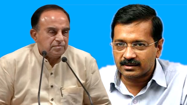 Speaking at a press conference in Thiruvananthapuram, Subramanian Swamy (left) on Saturday claimed that Arvind Kejriwal (right) didn't get a rank in IIT entrance test. (Photo: altered by <b>The Quint</b>)