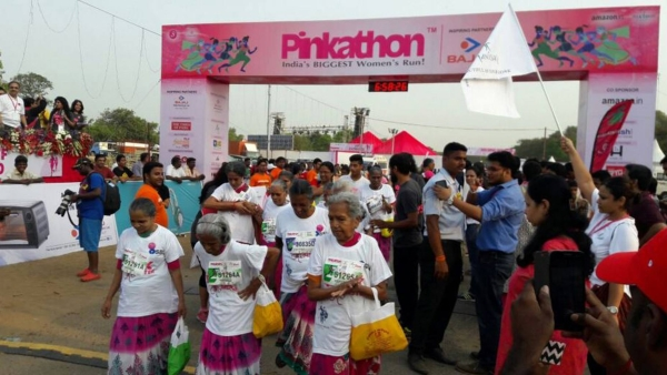 "Women participate in a Pinkathon event. (Photo Courtesy: Twitter/<a href=""https://twitter.com/BajajElectrical/status/739331845205041152"">@BajajElectrical</a>)"