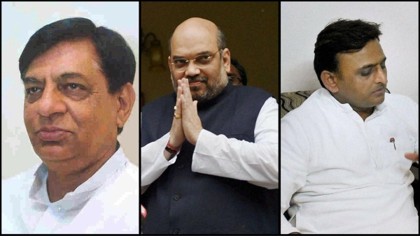 BJP MLA Hukum Singh, BJP president Amit Shah, and UP CM Akhilesh Yadav. (Photo: <b>The Quint</b>)