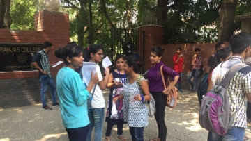 Students standing outside Ramjas College for admissions in Delhi on Thursday, 30 June 2016.