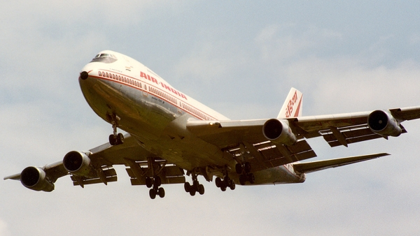 The Air India Kanishka landing at London's Heathrow Airport two weeks before its destruction.