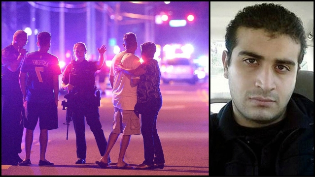 The relatives of Orlando shooting victims outside Pulse club (L), and Omar Mateen (R), the gunman who shot 49 people dead. (Photo: AP/<b>The Quint</b>)