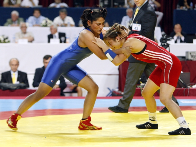 File photo of Neha Rathi wrestling with Patimat Bagomedova of Azerbaijan at the Senior Wrestling World Championship in 2011. (Photo: Reuters)