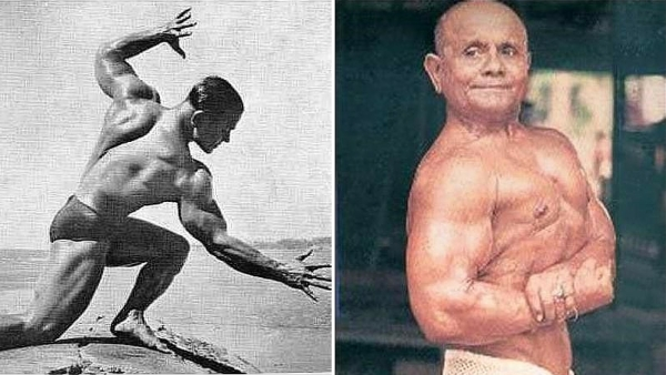 "He was called 'Pocket Hercules' for his short frame of 4 feet 11 inches. (Photo Courtesy: <a href=""https://www.facebook.com/Manohar-Aich-the-MrUniverse-1952-1466789126868768/photos"">Facebook/Manohar Aich</a>)"