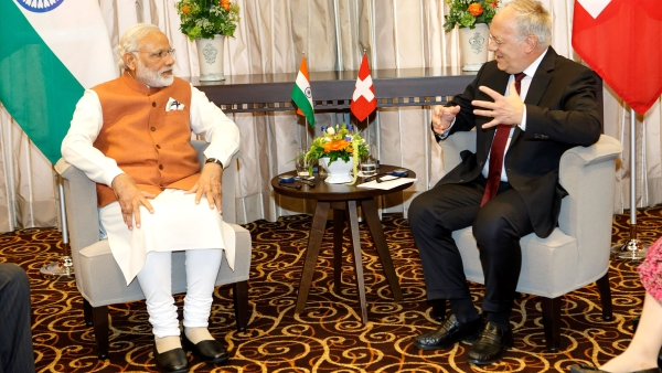 Swiss President Johann Schneider-Ammann speaks with the Indian Prime Minister Narendra Modi during a bilateral meeting, in Geneva, Switzerland, Monday, 6 June 2016. (Photo: AP)