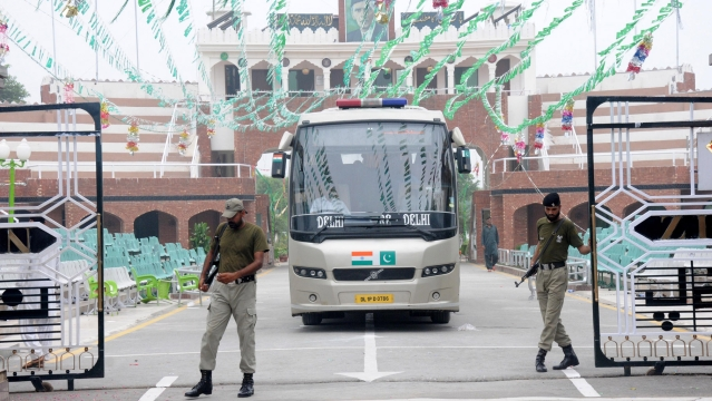 The Lahore-Delhi bus entering  India at the Attari-Wagah border, on August 15, 2015. (Photo: IANS)