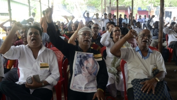 Supporters of rationalist Narendra Dabholkar stage a demonstration against his killing. (Photo: IANS)