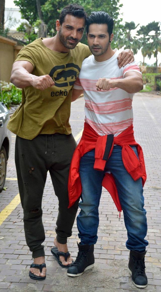 John Abraham and Varun Dhawan  as they promote their film Dishoom. (Photo Courtesy: Yogen Shah)