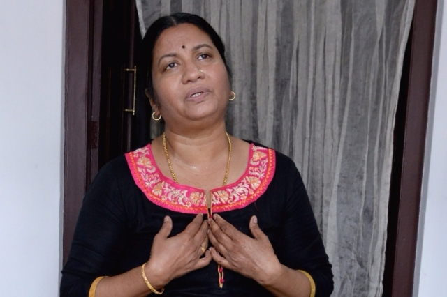 Nimisha's Mother Bindu (Photo Courtesy: The News Minute/Sreekesh R Nair)